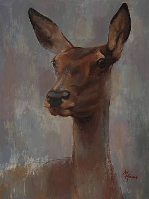 Painting - Portrait Of A Young Doe by Attila Meszlenyi