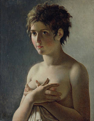 Semi-nude Painting - Portrait Of A Young Girl by Baron Pierre Narcisse Guerin