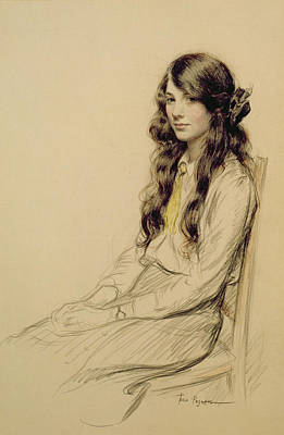 Brunette Drawing - Portrait Of A Young Girl by Frederick Pegram