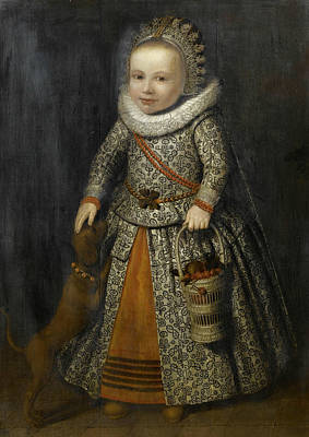 Painting - Portrait Of A Young Girl In An Embroidered Dress  by Cornelis de Vos