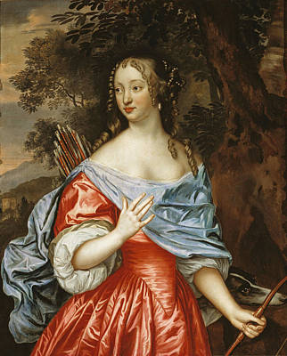 Painting - Portrait Of A Young Lady As Diana   by Johannes Mijtens