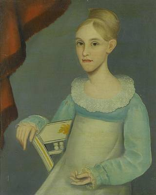 Lady In Blue Painting - Portrait Of A Young Lady In Blue And White Dress by MotionAge Designs
