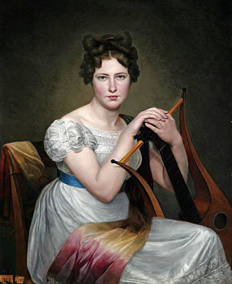 Adele Painting - Portrait Of A Young Lady Seated In A White Dress Holding A Lyre by Circle of Adele Romany