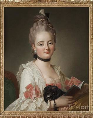 Portrait Of A Young Lady With Dog Art Print