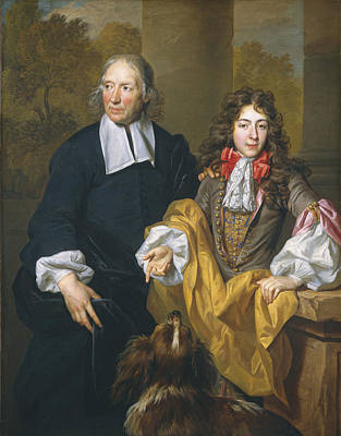 Of A Man And Woman Painting - Portrait Of A Young Man And His Tutor by Nicolas De Largillierre
