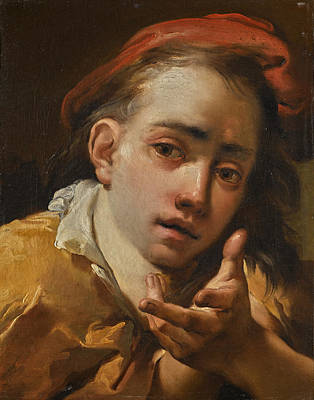 Painting - Portrait Of A Young Man, Bust-length, Wearing A Red Cap And Gesturing To The Viewer by Gaetano Gandolfi