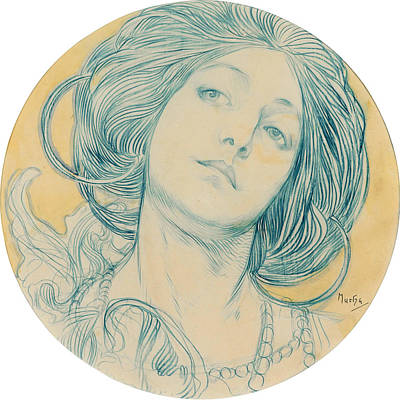 Mucha Drawing - Portrait Of A Young Woman by Alphonse Mucha