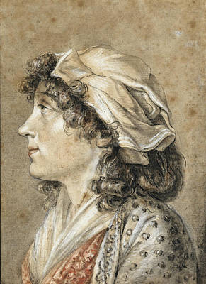 Drawing - Portrait Of A Young Woman, Bust Length, In Profile by Attributed to Francois-Andre Vincent