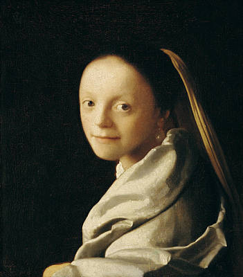 Pearl Earring Painting - Portrait Of A Young Woman by Jan Vermeer