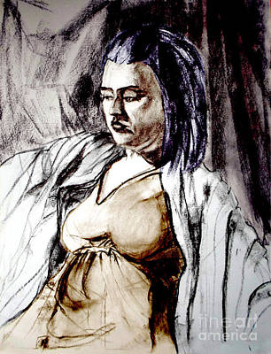 Painting - Portrait Of A Young Woman Lost In Folds by Greta Corens