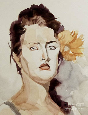 Painting - Portrait Of A Young Woman With Flower by Greta Corens