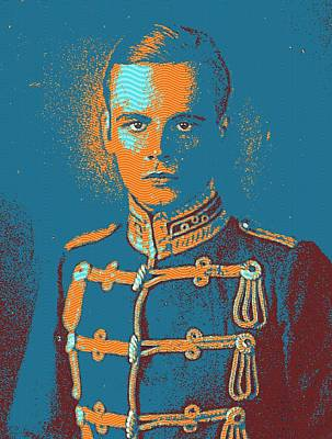 Background Painting - Portrait Of A Young  Wwi Soldier by Celestial Images