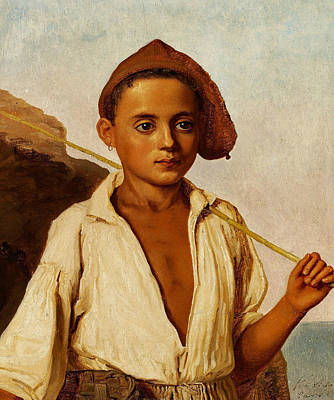 Danish Painting - Portrait Of A Youngfisher Boy From Capri by Christen Kobke
