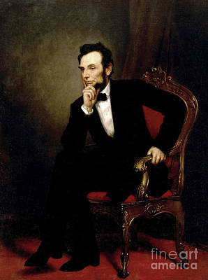 President Lincoln Painting - Portrait Of Abraham Lincoln, 1869  by George Peter Alexander Healy