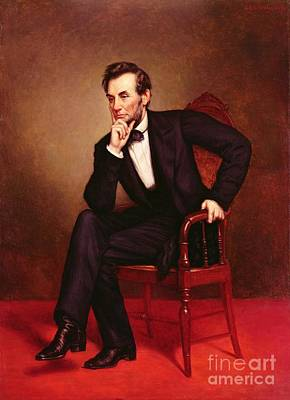 Black Tie Painting - Portrait Of Abraham Lincoln by George Peter Alexander Healy