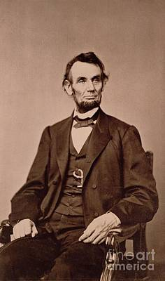 Bow Tie Photograph - Portrait Of Abraham Lincoln by Mathew Brady