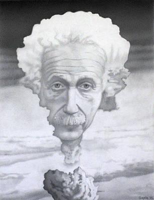 Portrait Of Albert Einstein In An Atomic Bomb Original