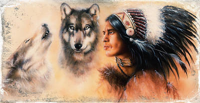 Native American Spirit Portrait Painting - Portrait Of American Indian In National Dress  On Color Backgrou by Jozef Klopacka
