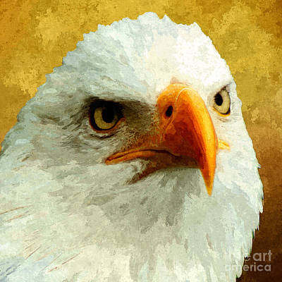 Us Flag Mixed Media - Portrait Of An Eagle by Stacey Chiew
