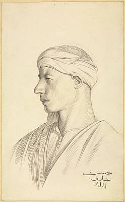 Jean-leon Gerome Drawing - Portrait Of An Egyptian Fellah by Jean-Leon Gerome