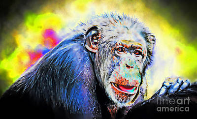 Digital Art - Portrait Of An Elderly Chimpanzee Fade To Black Altered Version by Jim Fitzpatrick
