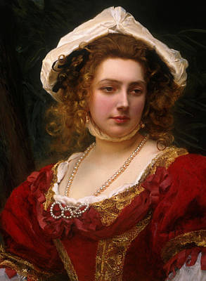 Elaborate Painting - Portrait Of An Elegant Lady In A Red Velvet Dress by Gustave Jacquet