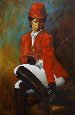 English Riding Painting - Portrait Of An Equestrian by Harvie Brown