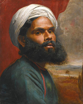 Portrait Of An Indian Sardar Art Print by Edwin Frederick Holt