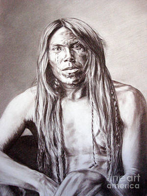 Worthy Painting - Portrait Of An Indian Warrior by Marina Seredyuk