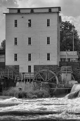 Photograph - Portrait Of An Indiana Grist Mill Black And White by Adam Jewell