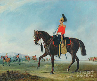 Painting - Portrait Of An Officer Of The Third Dragoon Guards With Other Members Of The Regiment Beyond by John E Ferneley