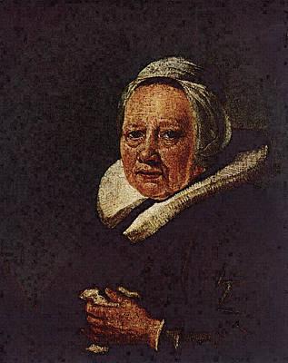 Digital Art - Portrait Of An Old Woman  by Gerrit Dou
