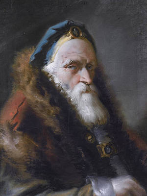 Bejeweled Drawing - Portrait Of An Oriental Head And Shoulders Wearing A Bejewelled Blue Hat And A Red Fur-trimmed Coat by Lorenzo Baldissera Tiepolo