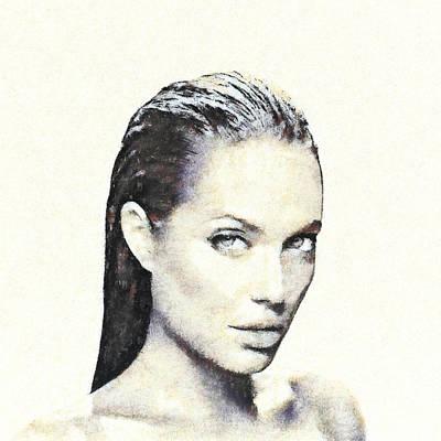 Mixed Media - Portrait Of Angelina Jolie by Anton Kalinichev