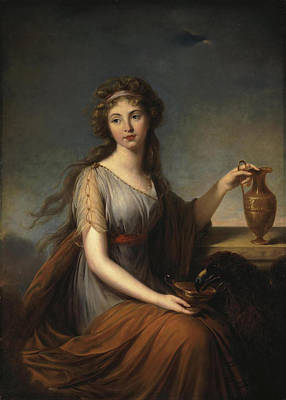 Goddess Of Beauty Painting - Portrait Of Anna Pitt As Hebe by Elisabeth Louise Vigee-Lebrun