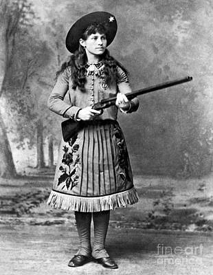 Black Stand Photograph - Portrait Of Annie Oakley by American School