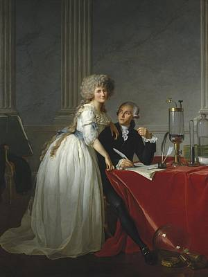 Research Painting - Portrait Of Antoine-laurent Lavoisier And His Wife by Jacque-Louis David