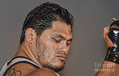 Digital Art - Portrait Of Apw Universal Heavyweight Wrestling Champion Jeff Cobb  by Jim Fitzpatrick