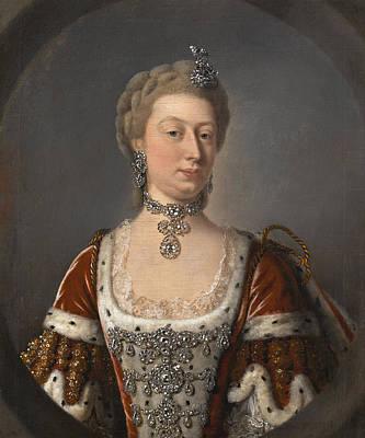 Portrait Of Augusta Von Sachsen-gotha Princess Of Wales Art Print by Studio of Jean-Baptiste van Loo
