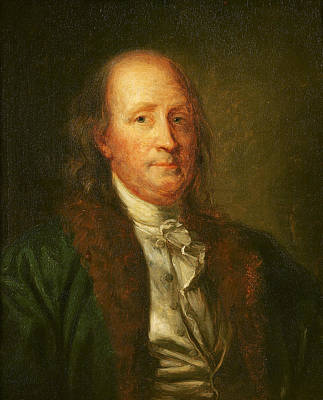 Politics Painting - Portrait Of Benjamin Franklin by George Peter Alexander Healy