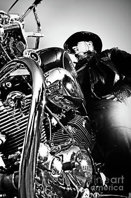 Photograph - Portrait Of Biker Man Sitting On Motorcycle - Black And White by Dimitar Hristov
