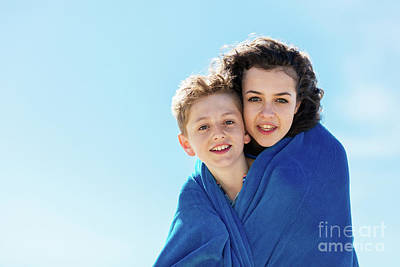 Photograph - Portrait Of Brother And Older Sister Covered In A Blanket. by Michal Bednarek