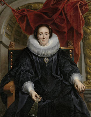 Statue Portrait Painting - Portrait Of Catharina Behaghel by Jacob Jordaens