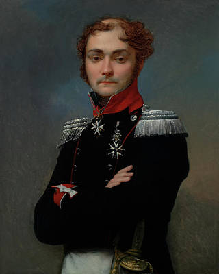 Painting - Portrait Of Charles-louis Regnault, An Officer From The Napoleon by Jean-Baptiste Regnault