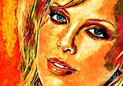 Charlize Wall Art - Digital Art - Portrait Of Charlize Theron by Zedi