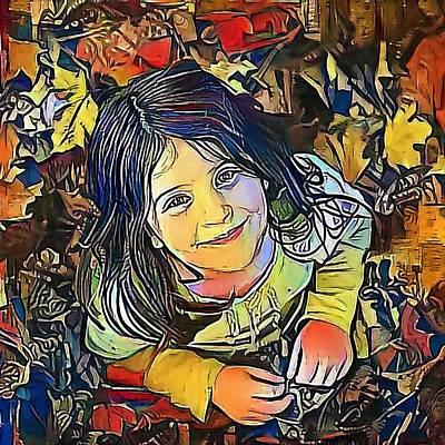 Looking At Camera Drawing - Portrait Of Child - My Www Vikinek-art.com by Viktor Lebeda