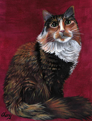 Painting - Portrait Of A Tortoiseshell Cat by Long Studios