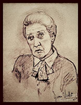 Drawing - Portrait Of Cora Sepia by Joan-Violet Stretch