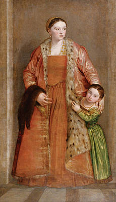 Europe Painting - Portrait Of Countess Livia Da Porto Thiene And Her Daughter Deid by Paolo Veronese
