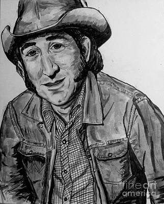 Painting - Portrait Of Don Williams Bw by Joan-Violet Stretch